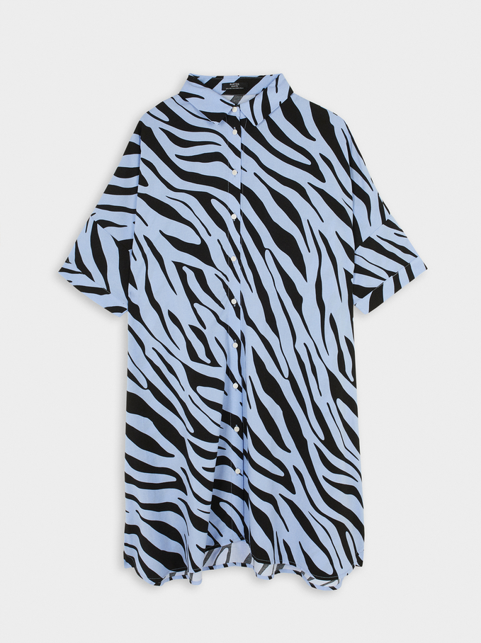 Animal Print Shirt Dress, Blue, hi-res