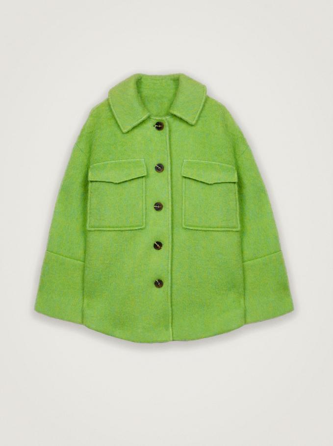 Wool Coat With Pockets, Green, hi-res