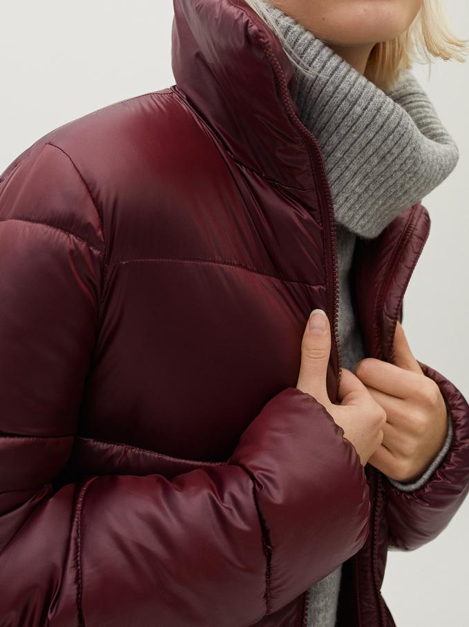 High Neck Puffer Coat , Bordeaux, hi-res