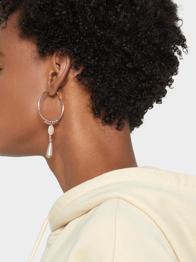 Pink Desert Medium Hoop Earrings With Pendant, Orange, hi-res