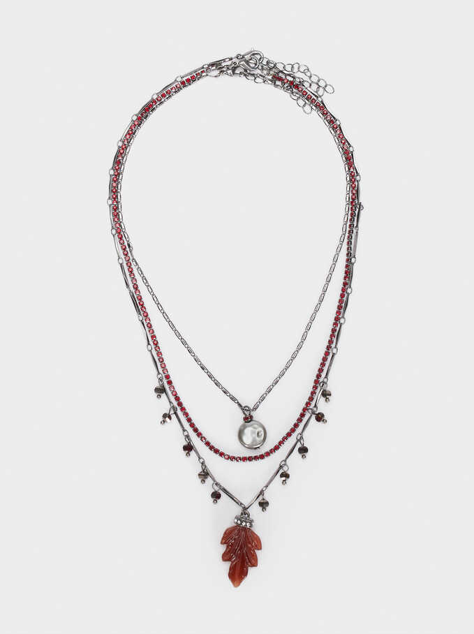 Set Of Necklaces With A Leaf And Multicoloured Crystals, Bordeaux, hi-res