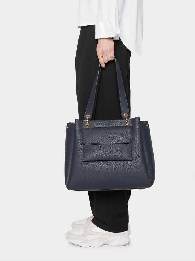 Tote Bag With Removable Outer Pocket, Navy, hi-res