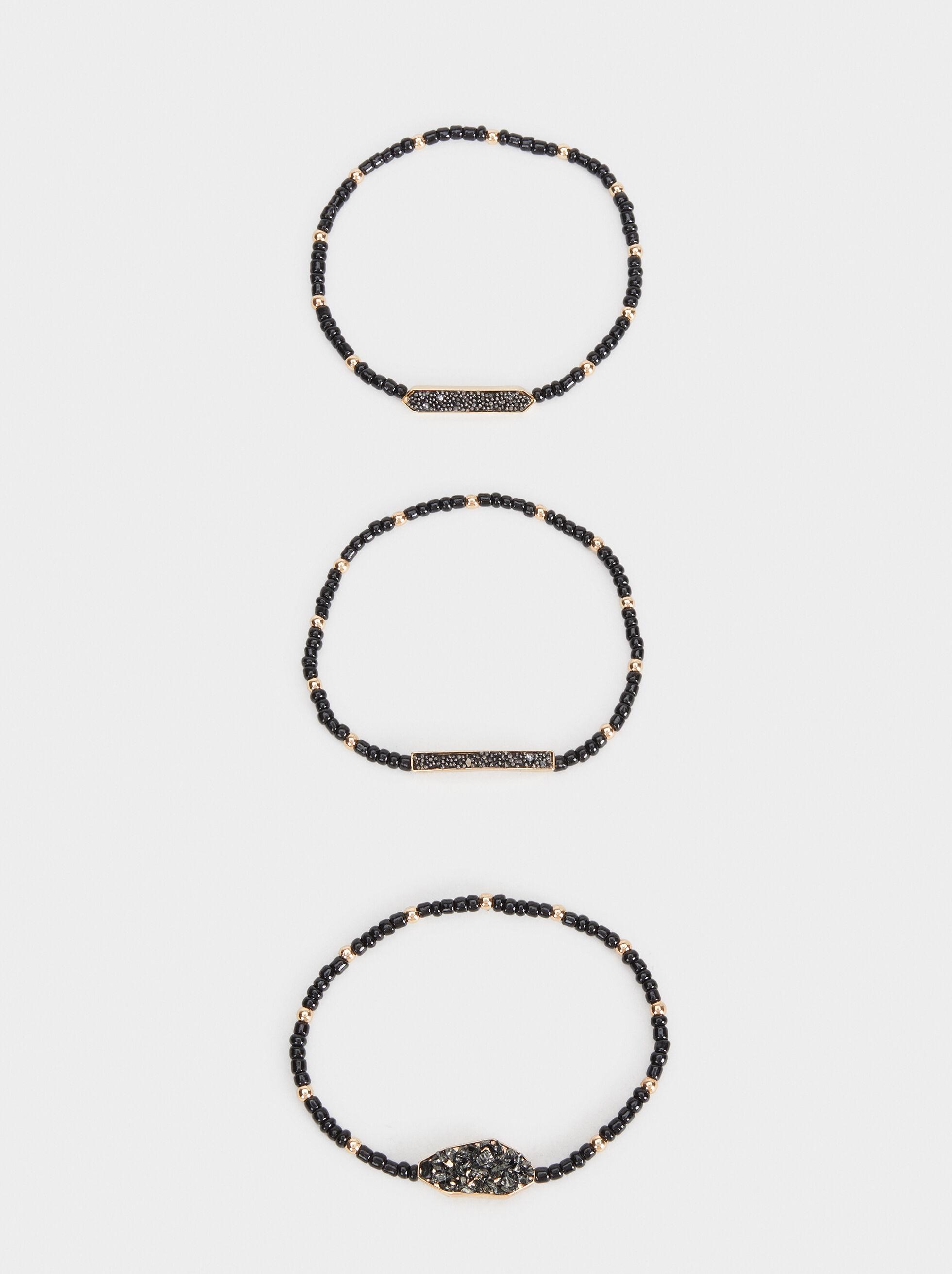 Set Of Elasticated Beads Bracelets, Multicolor, hi-res