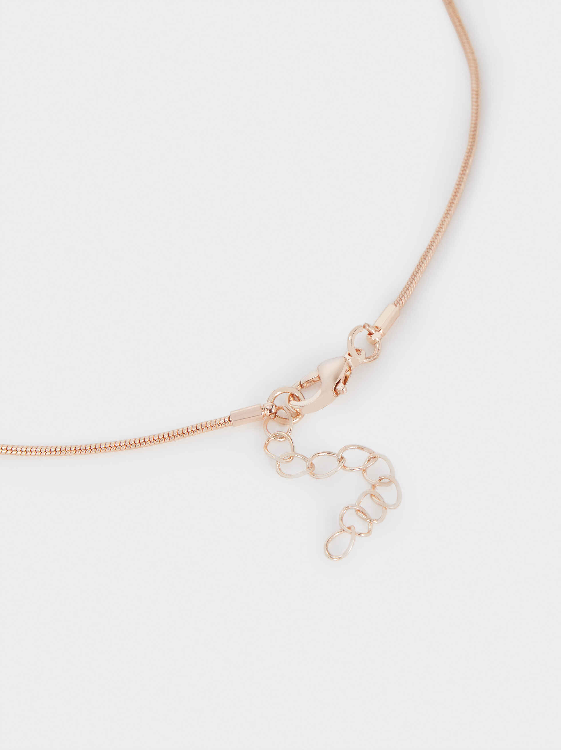 Short Rose Gold Necklace, Orange, hi-res
