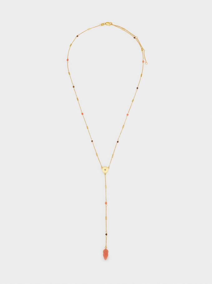 Silver Necklace With Leaf Pendant, Multicolor, hi-res