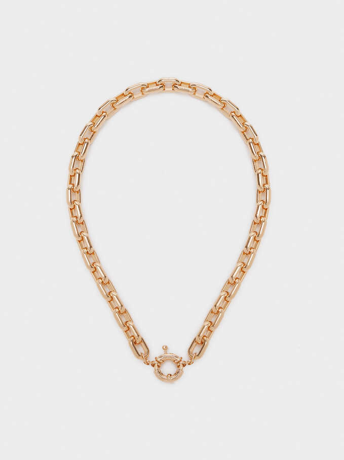 Short Chain Necklace, Golden, hi-res