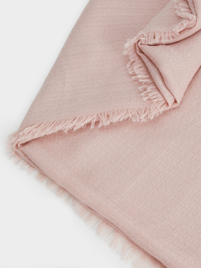 Plain Pashmina With Frayed Detailing, Pink, hi-res