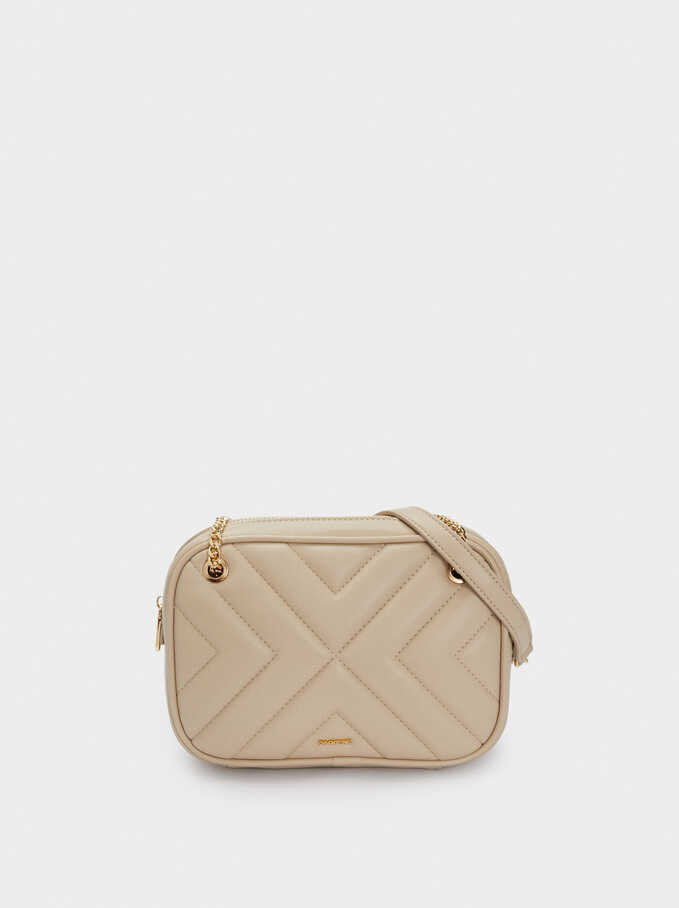 Quilted Crossbody Bag With Contrast Strap, Beige, hi-res