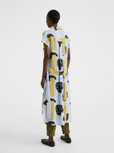 Printed Shirt Dress With Belt, Blue, hi-res