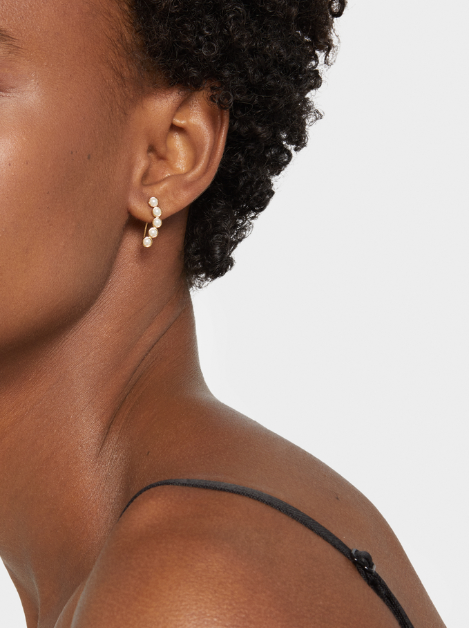 925 Silver Ear Cuffs With Faux Pearls, Beige, hi-res