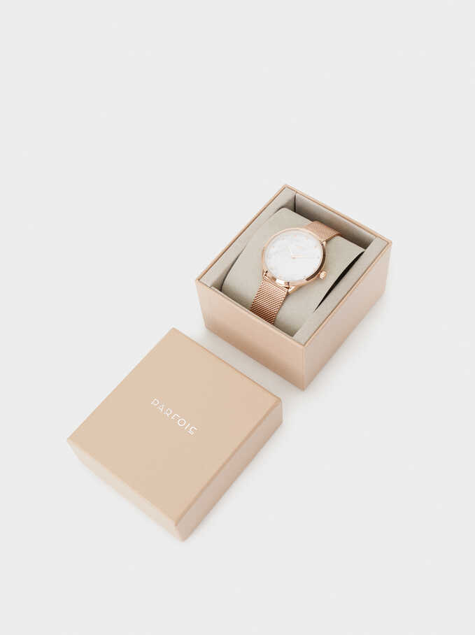 Watch With Marble-Effect Face, Orange, hi-res