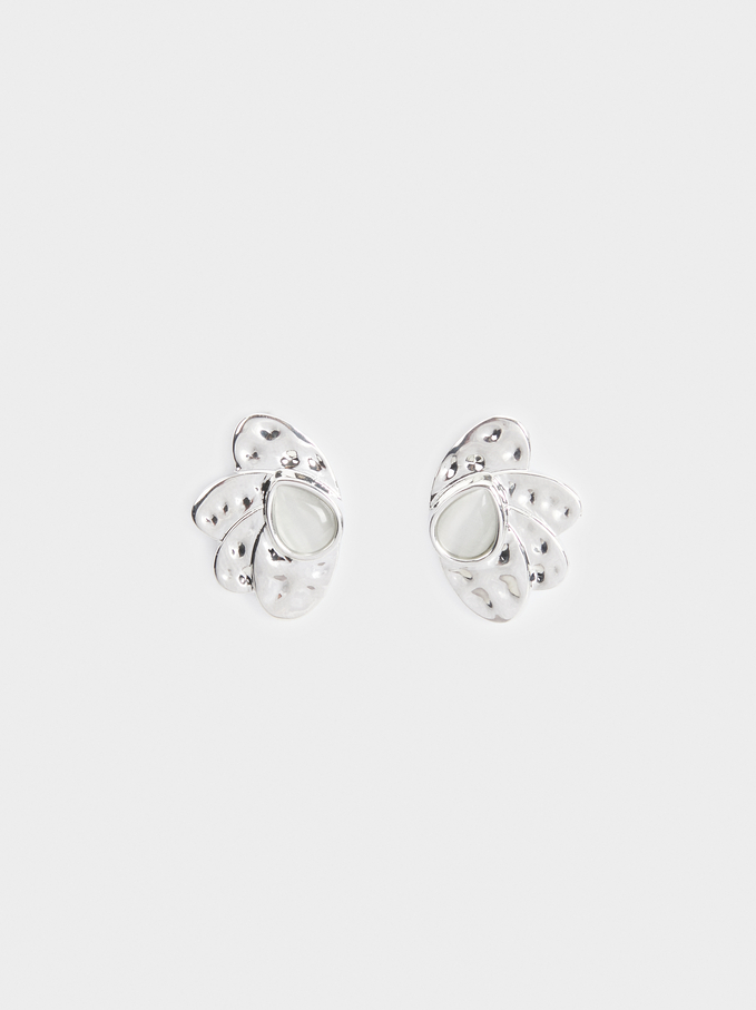Short Earrings With Stone, Silver, hi-res