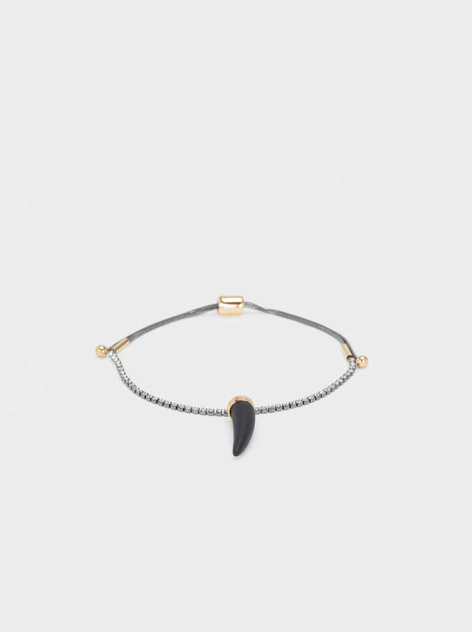 Adjustable Bracelet With Horn, Black, hi-res