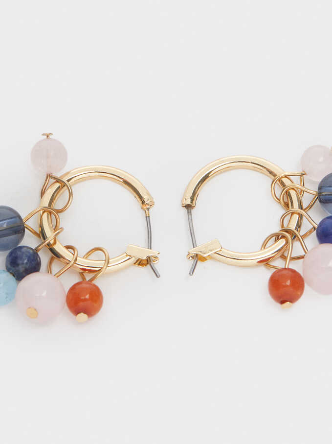 Short Earrings With Multicoloured Stones, Multicolor, hi-res