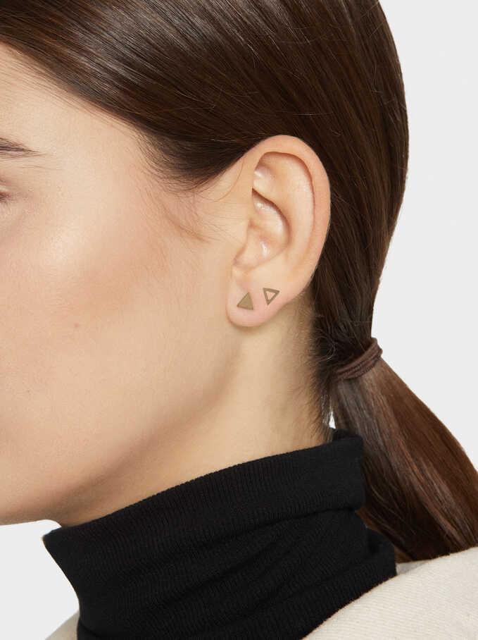 Steel Triangle Earring Set, Orange, hi-res