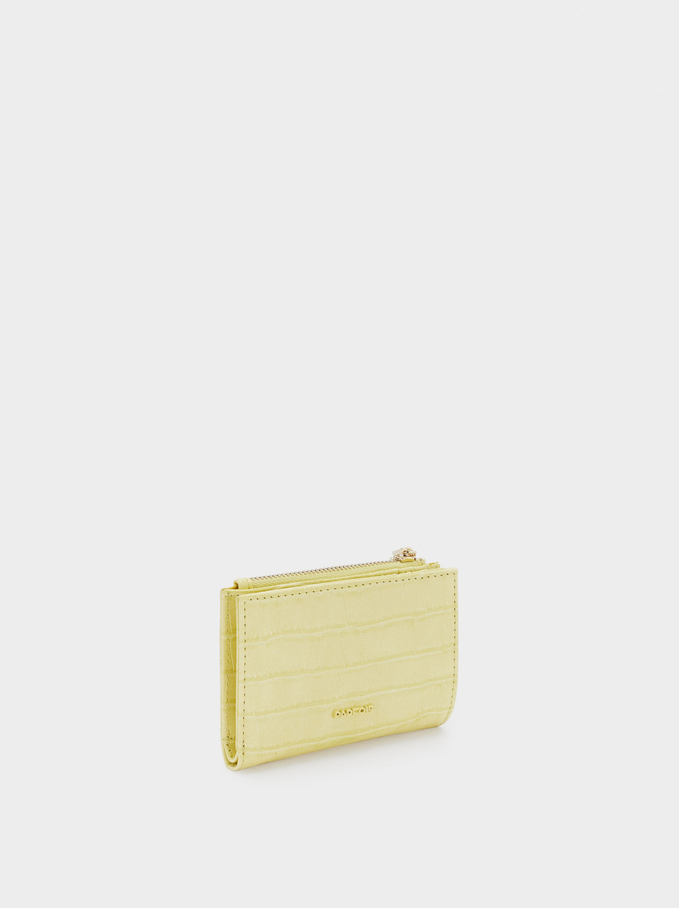 Embossed Animal Print Compact Purse, Yellow, hi-res