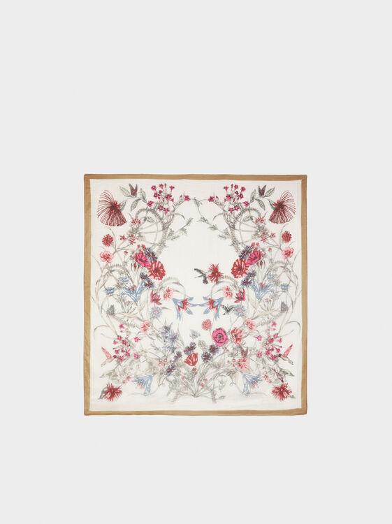 Floral Silk Square Scarf, Multicolor, hi-res
