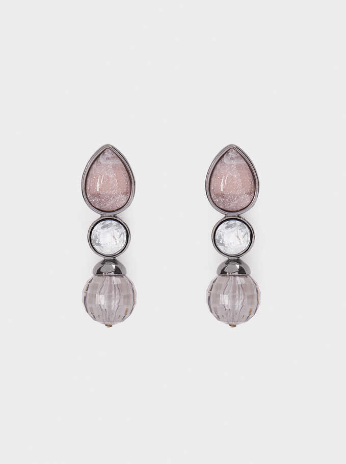 Cosmic Pink Long Stud Earrings, Multicolor, hi-res