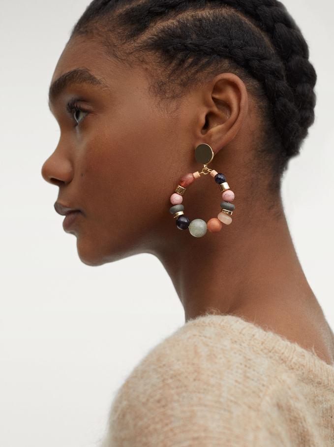 Lange Ohrringe Mit Edelstein Und Zierperlen, Mehrfarbig, hi-res