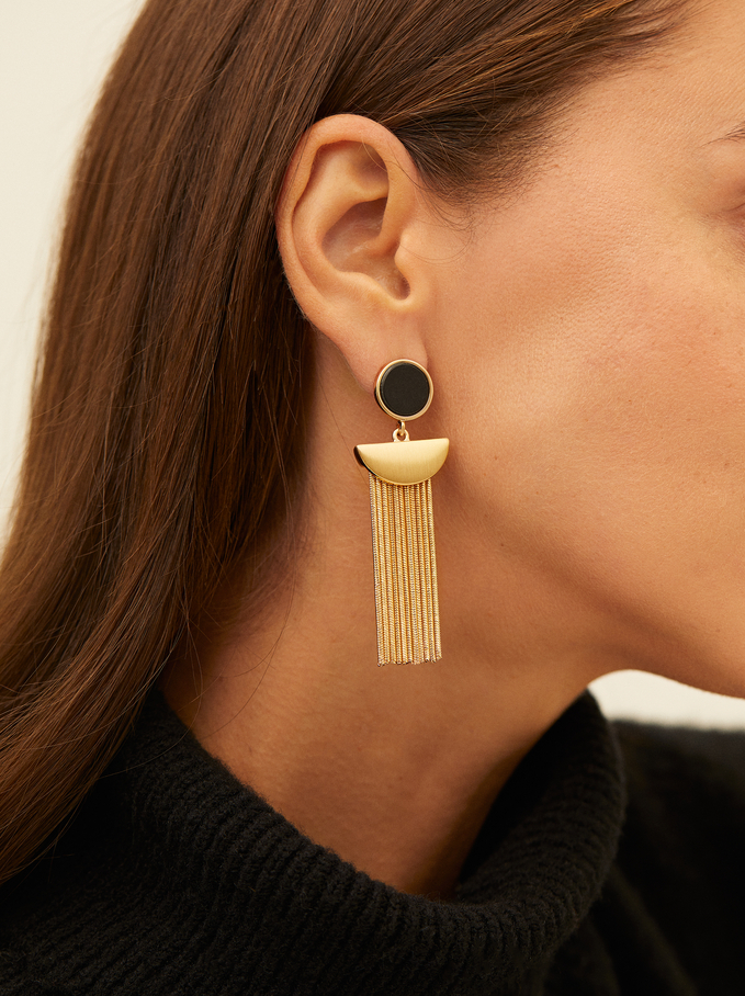 Long Dangle Earrings, Black, hi-res