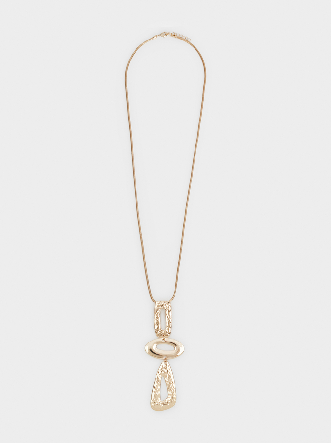 Long Necklace With Pendant, Golden, hi-res