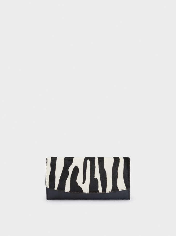 Animal Print Leather Purse, Black, hi-res