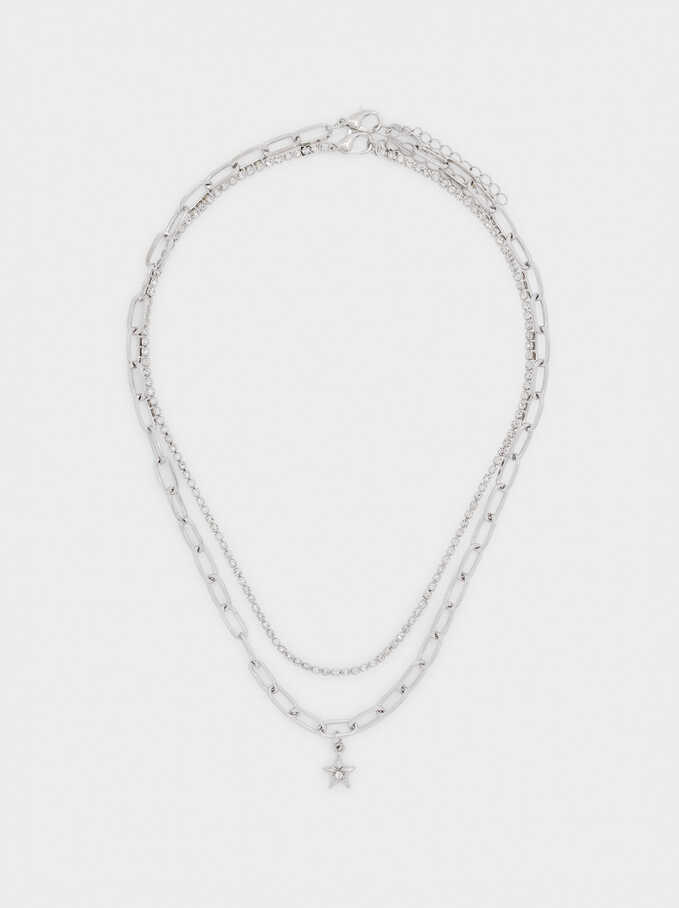 Set Of Silver-Plated Chain Necklaces, Silver, hi-res