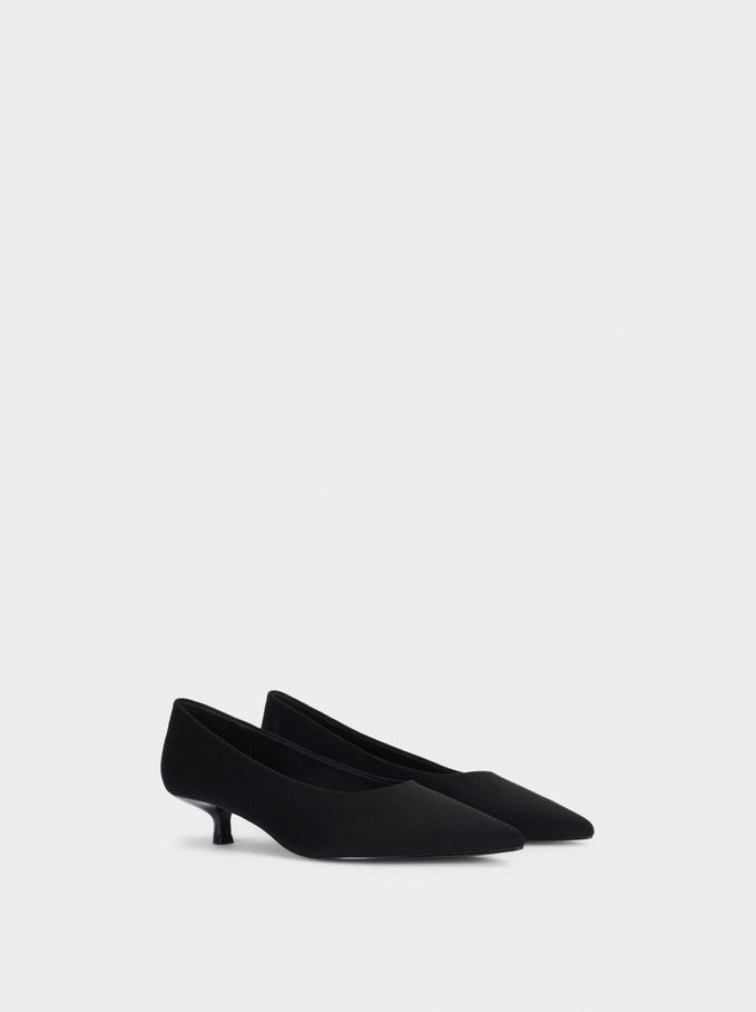 Chaussures À Talon Avec Texture En Daim, Noir, hi-res