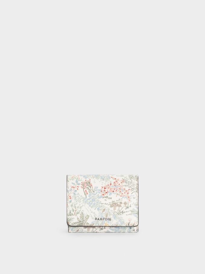 Cartera Compacta Con Estampado Floral, Rosa, hi-res