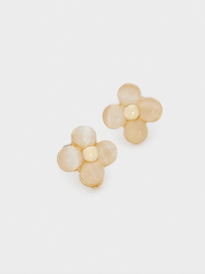 Short Flower Earrings, Golden, hi-res