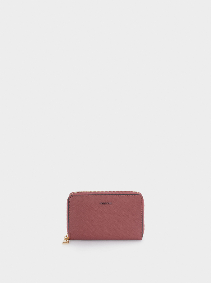 Compact Zipped Purse, Pink, hi-res