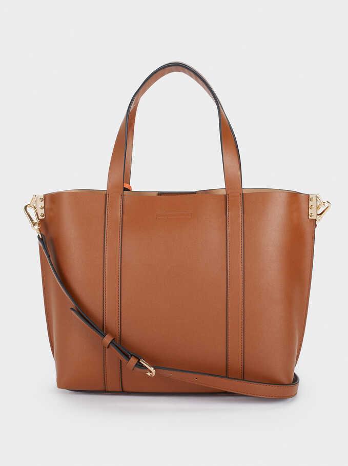 Tote Bag With Shoulder Strap, Camel, hi-res