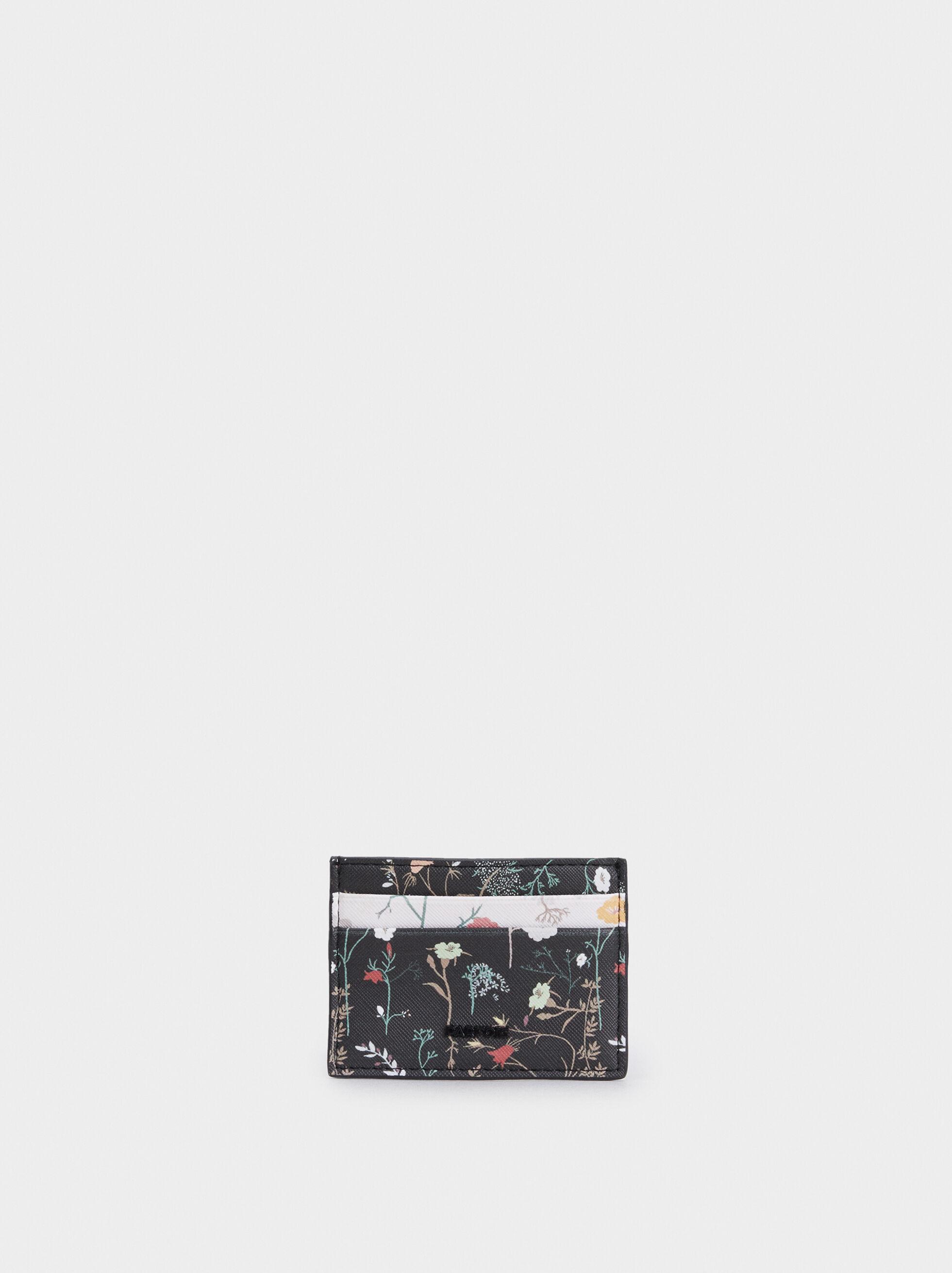 Floral Print Card Holder, Black, hi-res
