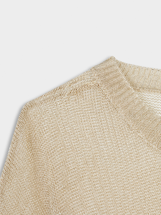 Round-Neck Knit Sweater, Golden, hi-res