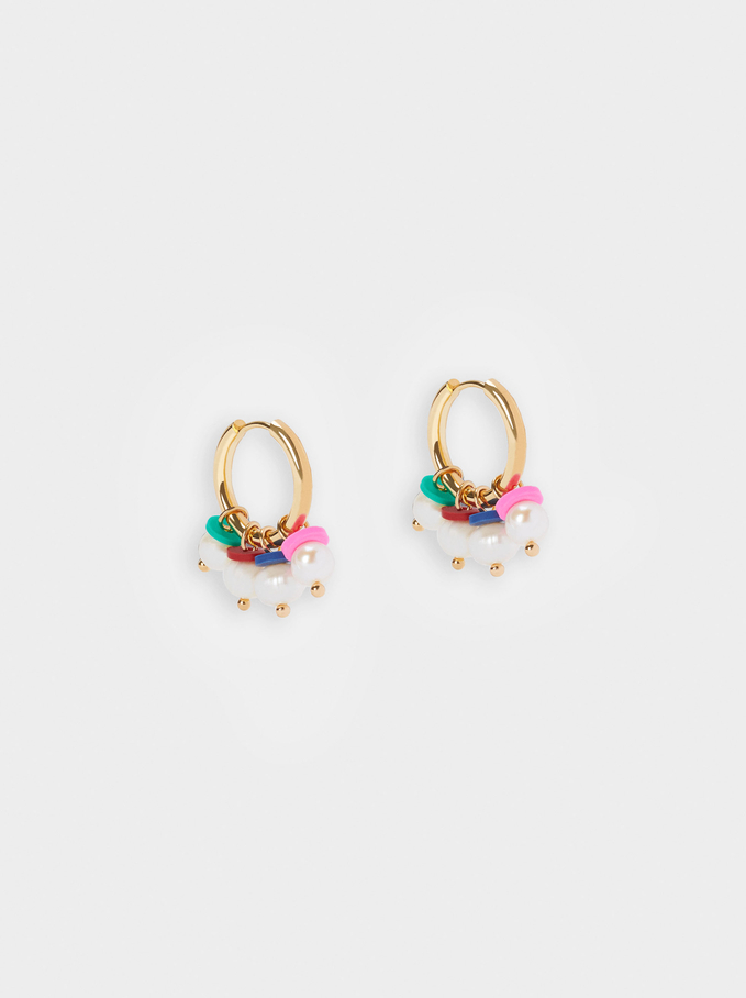 Pendientes De Aro Con Perlas, Multicor, hi-res