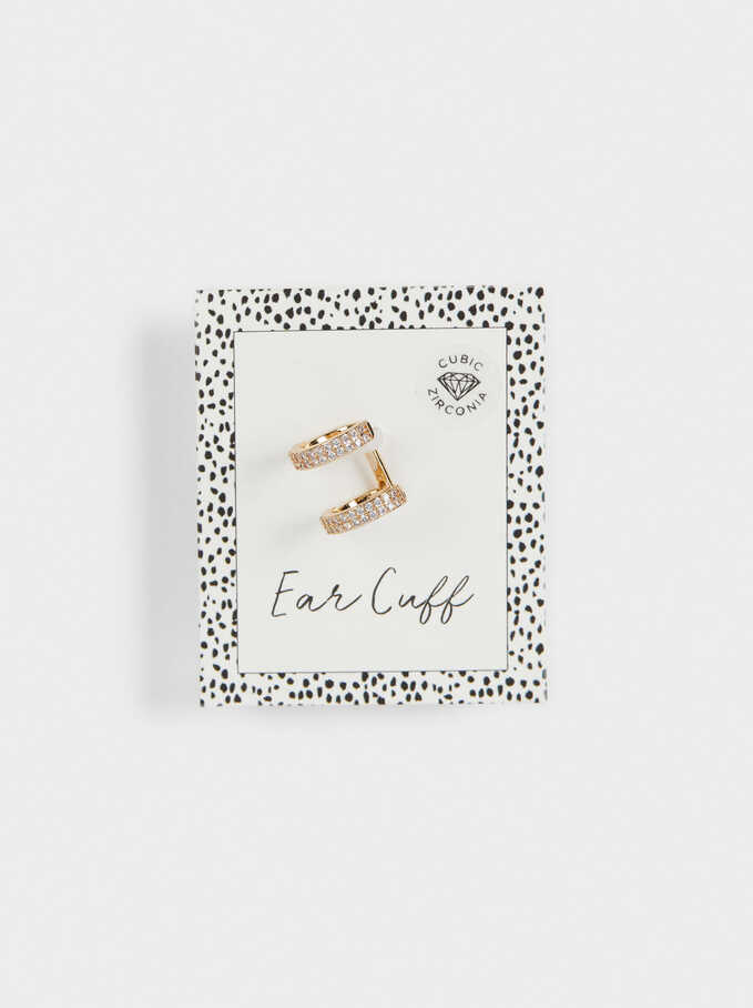 Earcuff Earrings With Zirconia, Golden, hi-res