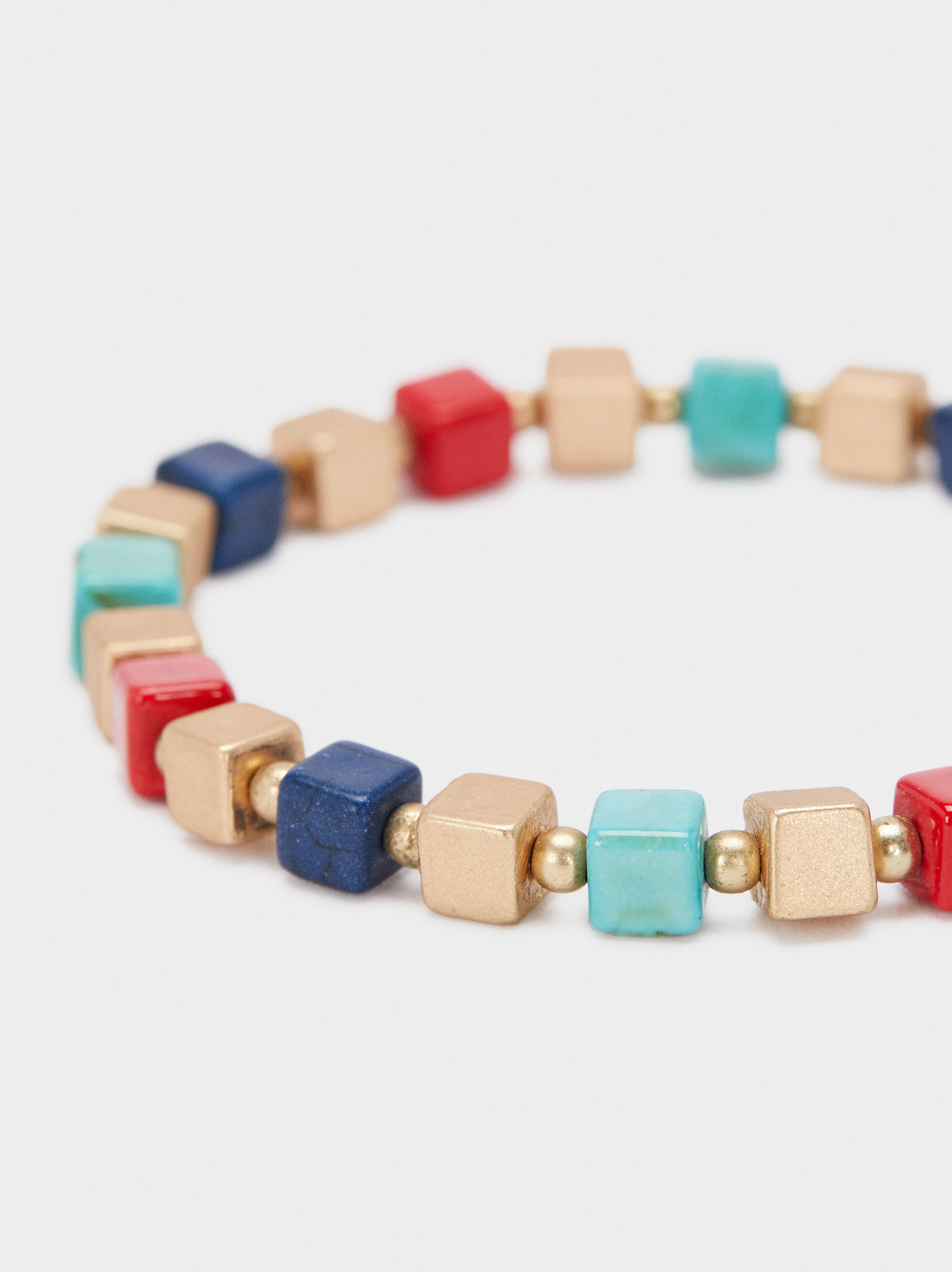 Elastic Bracelet With Cubes, Multicolor, hi-res