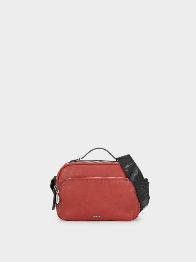 Shoulder Bag With Outer Pockets, Brick Red, hi-res