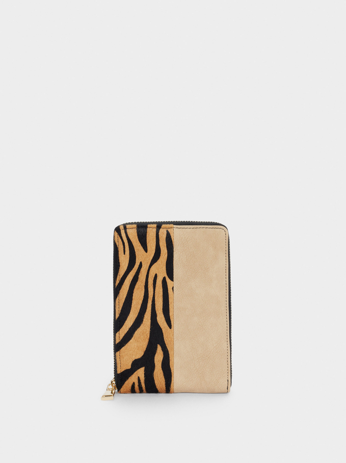 Leather Mobile Phone Bag With Print, Camel, hi-res