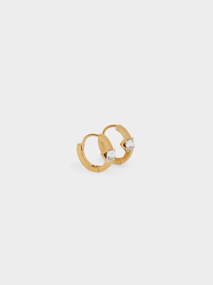 Set Of Stainless Steel Hoop Earrings With Swarovski Crystals, Golden, hi-res