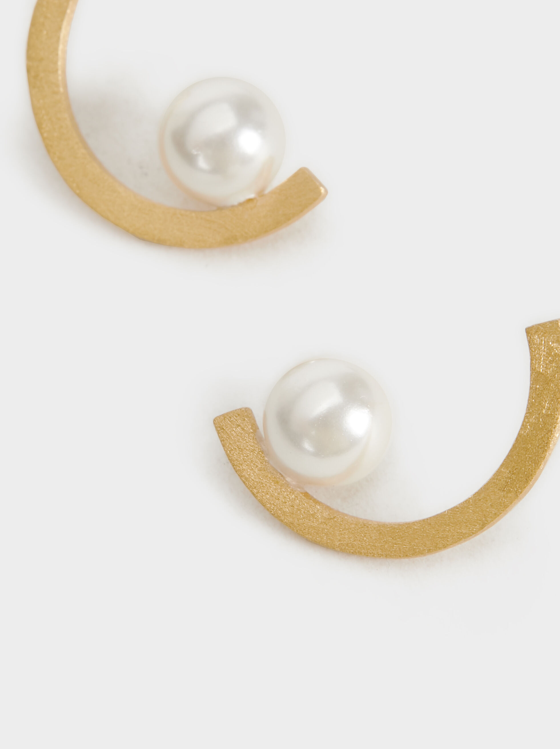 Short Silver 925 Earrings With Faux Pearls, Beige, hi-res