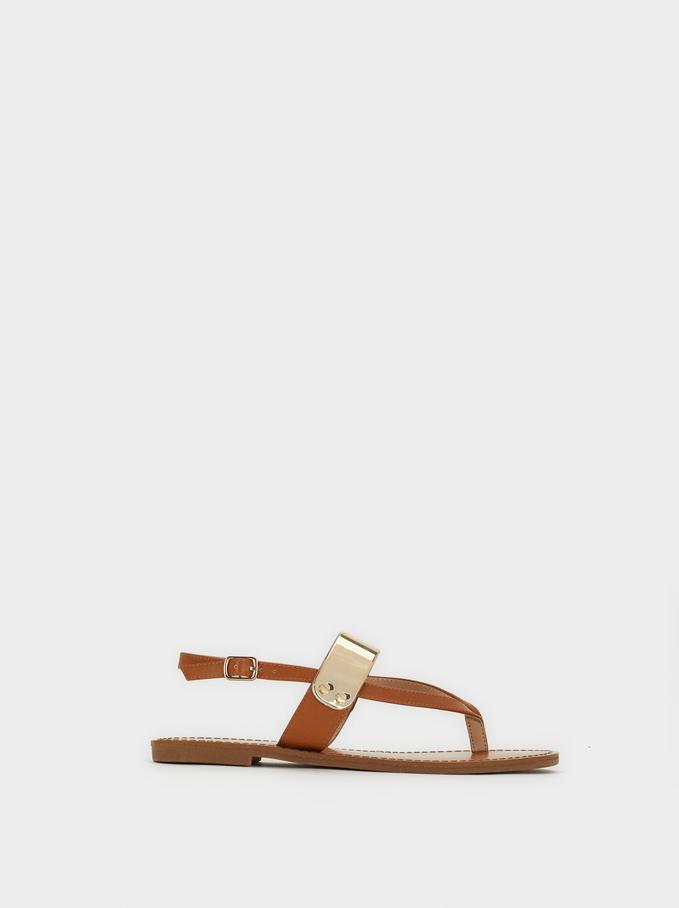 Flat Sandals With Metal Detail, Camel, hi-res
