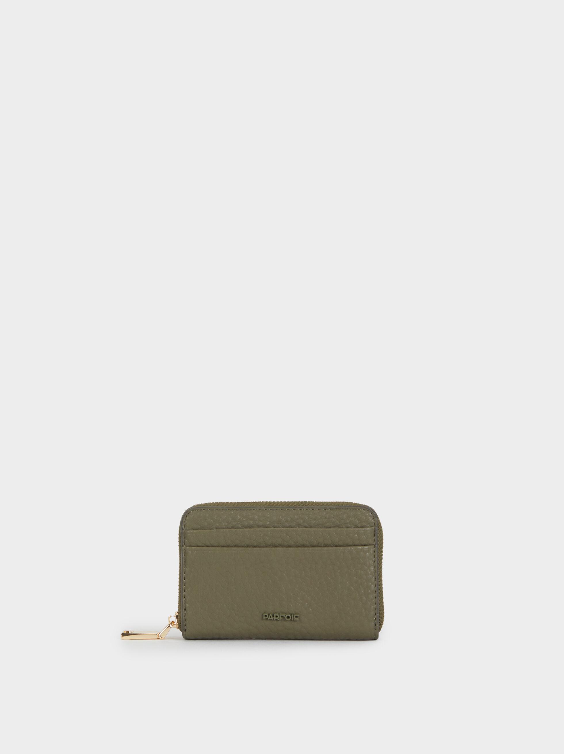Small Faux Leather Purse, Khaki, hi-res