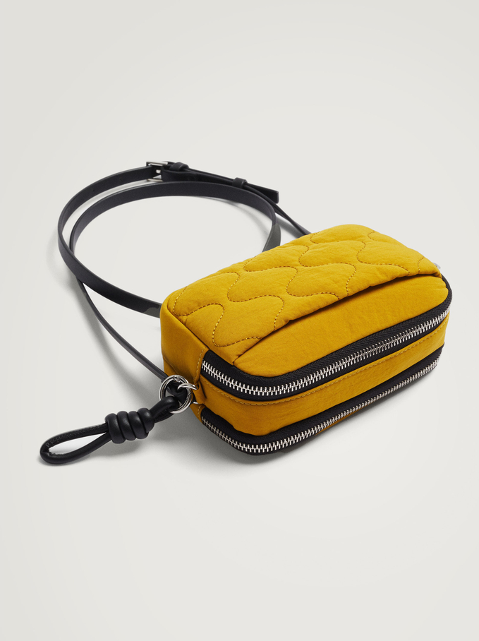 Quilted Nylon Crossbody Bag, Yellow, hi-res