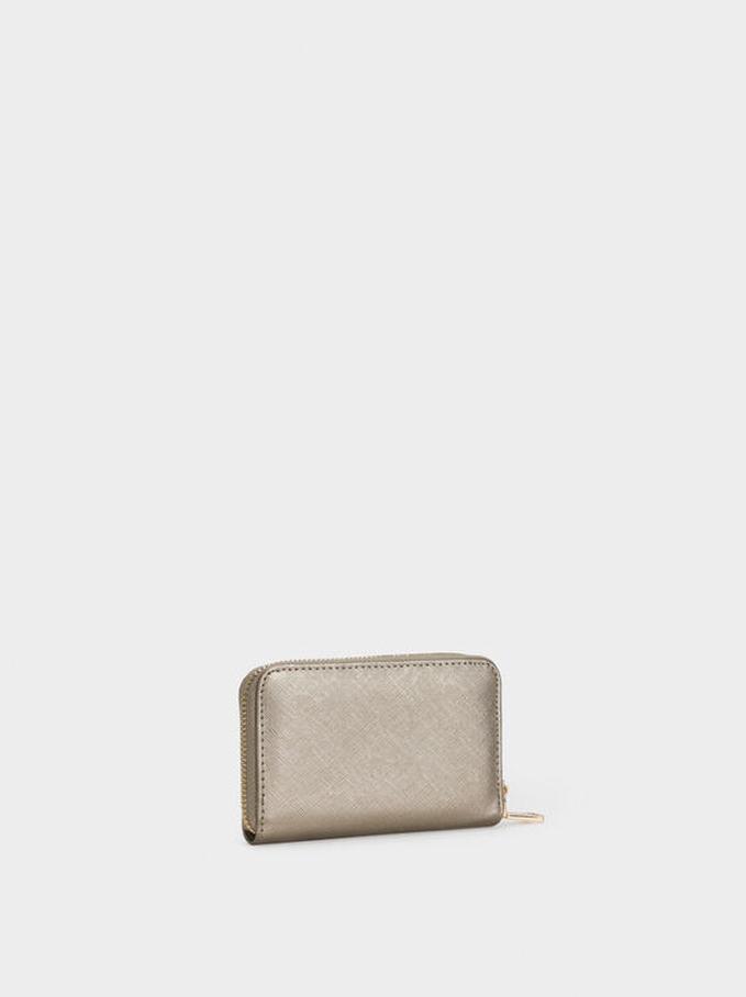 Compact Zipped Purse, Silver, hi-res