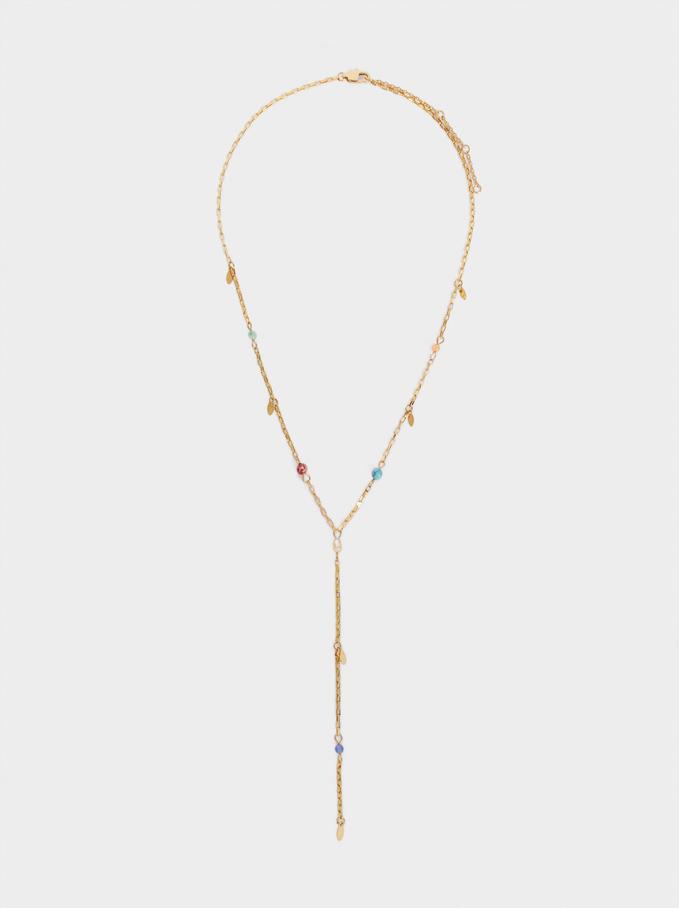Steel Necklace With Stones, Multicolor, hi-res