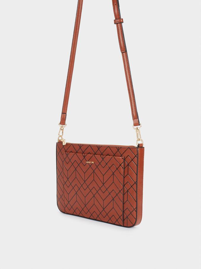 Embossed Crossbody Bag With Outside Pocket, Camel, hi-res