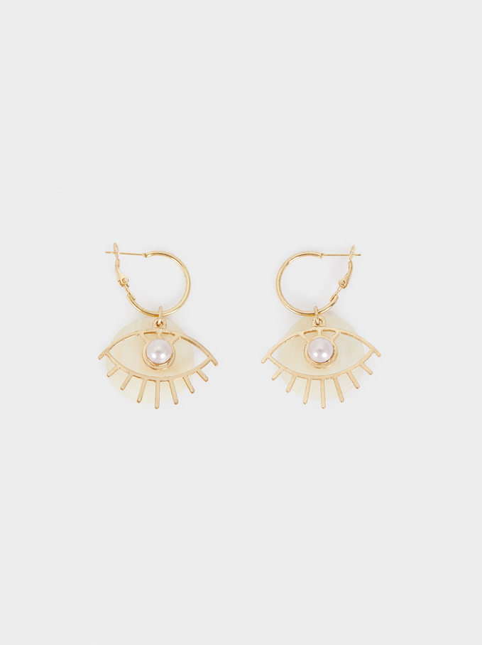 Watercolor Medium Hoop Earrings With Eye, Golden, hi-res