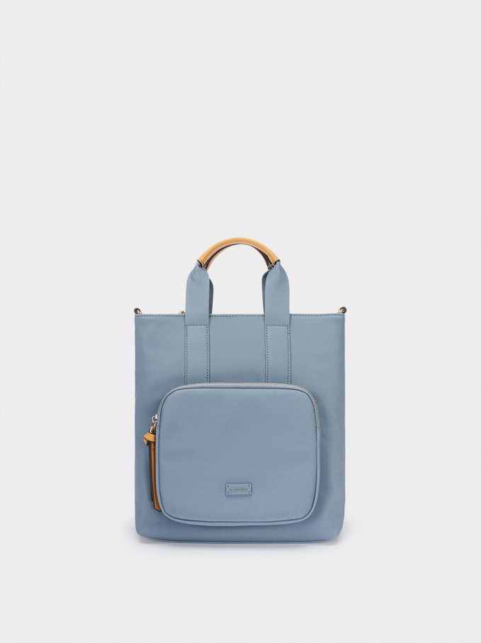 Nylon Textured Backpack With Handles, Blue, hi-res