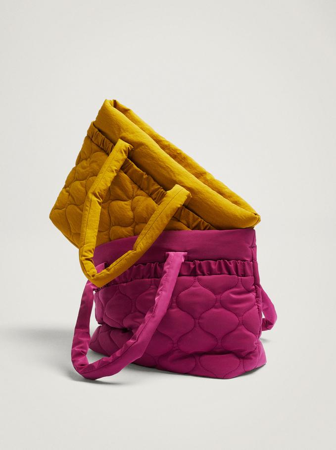 Nylon Tote Bag With Pleats, Yellow, hi-res